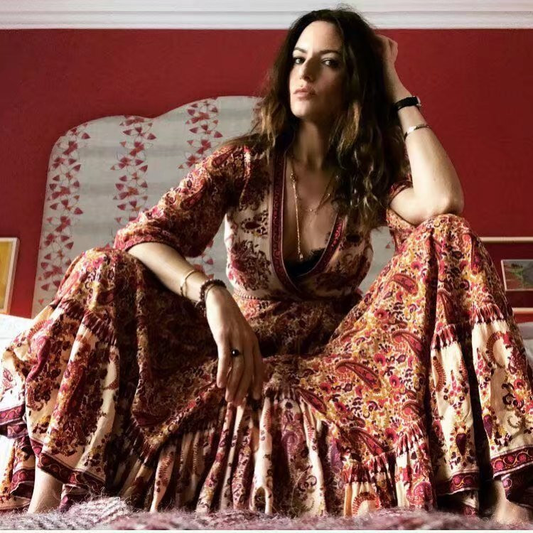 2019 femmes plage robe impression florale Maxi longue robe Vintage Boho Style Split été robe col en v attacher Chic Robes Vestidos