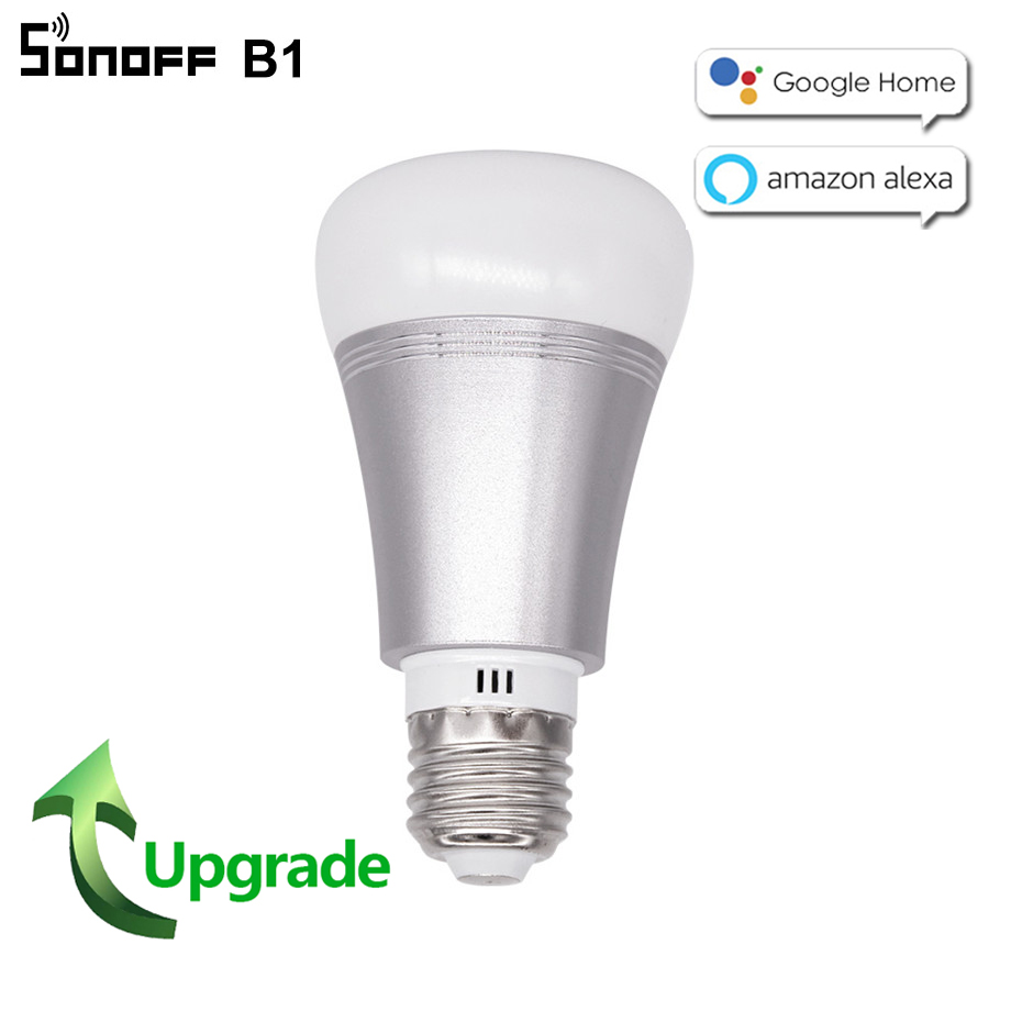 2018 New Sonoff B1 wifi Smart LED Lamp E27 Dimmable RGB Timer Bulb Color Changing Remote Control Wifi Light Bulb Work With Alexa