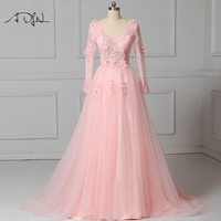 ADLN V neck Backless Evening Dresses with Long Sleeves A line Tulle Light Pink Formal Occasion Dress Party Gown
