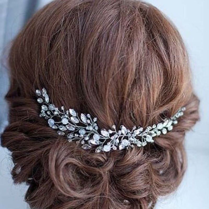 Handmade Beads Crystal Bridal Hair Flower Rhinestone Hair Jewelry Prom Headdress Headpieces Women Girls Wedding Hair Accessories fashion bridal veils party wedding hair accessories flower girls bridesmaid hair band floral lace veil headdress free shipping
