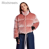Modstreets 2017 Female Jacket Parkas Women Wadded Short Jacket Young Pink Warm Outwear Thickening Casual Velvet