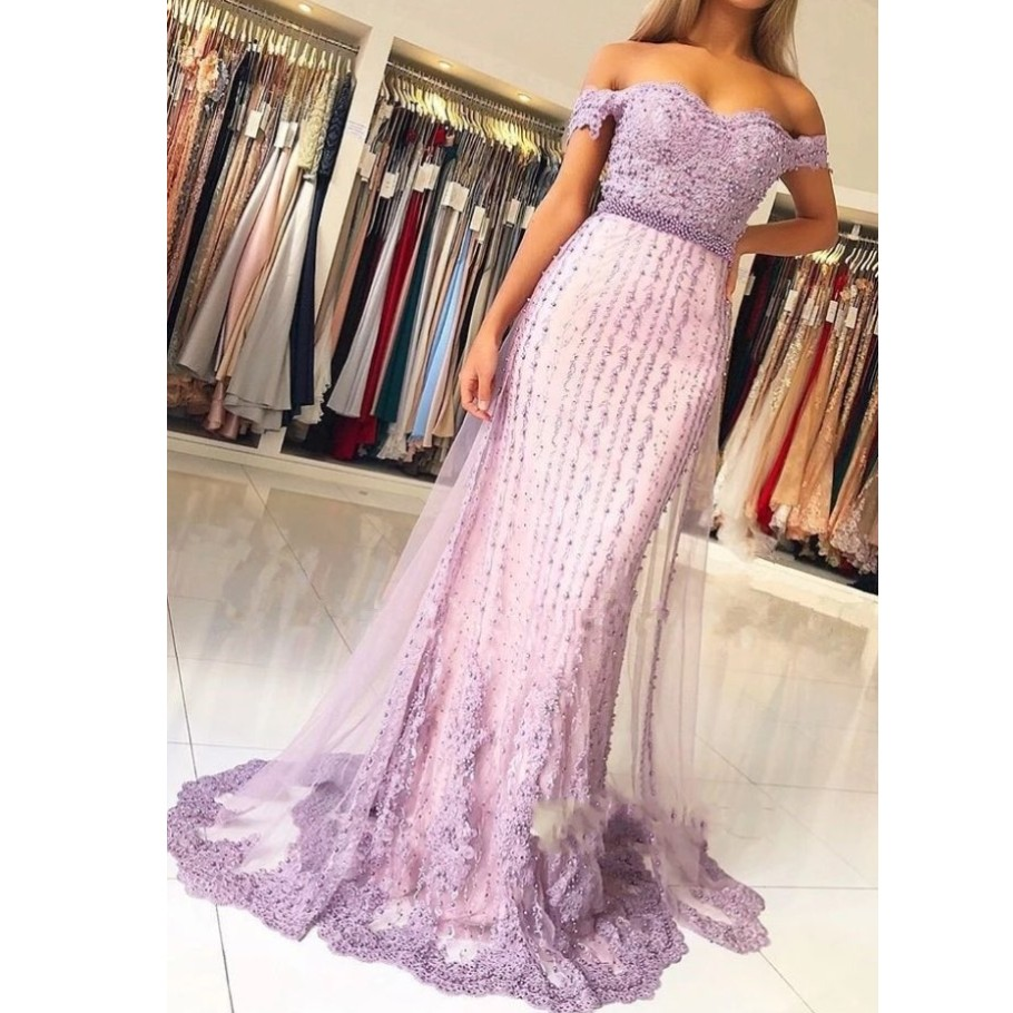 Pretty Lavender Pearls Lace Mermaid   Evening     Dresses   Sweetheart Off Shoulder Beaded Long Prom Gowns Vestido Longo Abendkleider