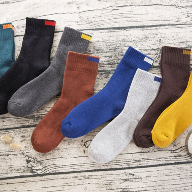 EFINNY Fashion Men's Cotton Socks Casual Solid Color Breathable Terry Thick Warm Socks High Quality Winter Socks