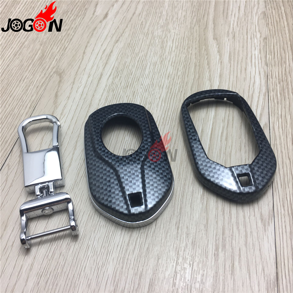 Carbon Fiber Look Smart Remote Key Fob Case Bag Shell Holder Key Chain Ring Cover For Maserati Ghibli M157 2014 2015 2016
