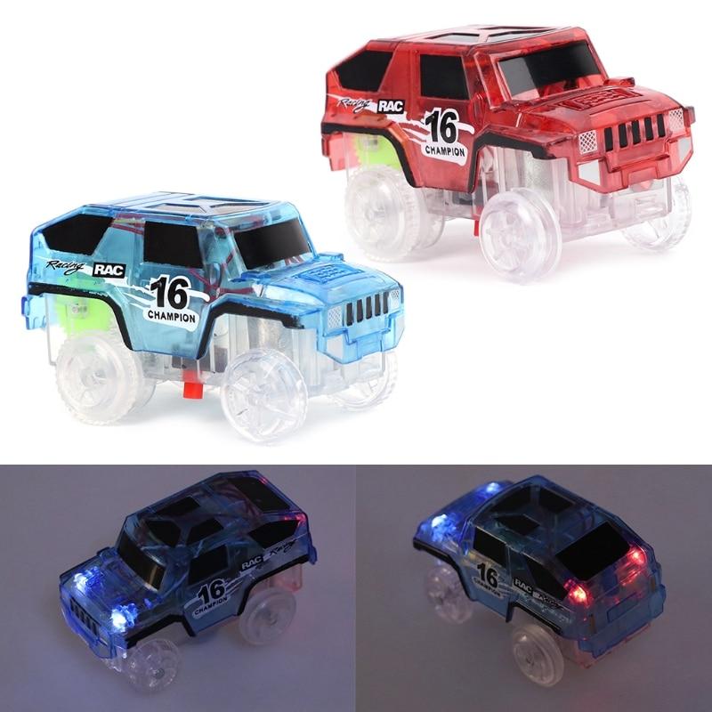 Coche de juguete LED para DIY pista mágica milagrosa brillante en Dark Bend Flex Racing Año Nuevo regalos de cumpleaños-