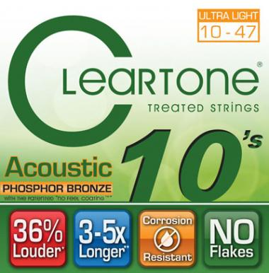 Cleartone 7410 EMP Micro лечение Фосфорная бронза акустической Гитары строки, Ultra Light 10-47