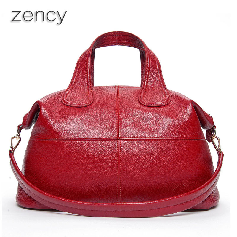 ZENCY Bags Handbags Luxury Famous Brands Large Capacity Women Bag Genuine Cowhid