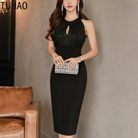 TUHAO Elegant Office Lady Dresses 2018 Summer Vintage Black Sleeveless Slim Formal Club Party Dress Bodycon Pencil Dress