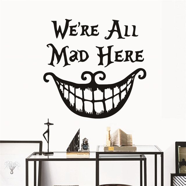 Disney Alice in Wonderland Mad Hatter wall Stickers Decals Quotes Sticker Home Decor