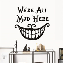 Disney Alice in Wonderland Mad Hatter wall Stickers Decals Quotes Sticker Home Decor