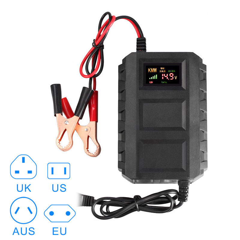 Nueva venta caliente inteligente 12 V 20A baterías de automóvil de plomo ácido cargador de batería inteligente cargador de batería de la motocicleta del coche de la DXY88