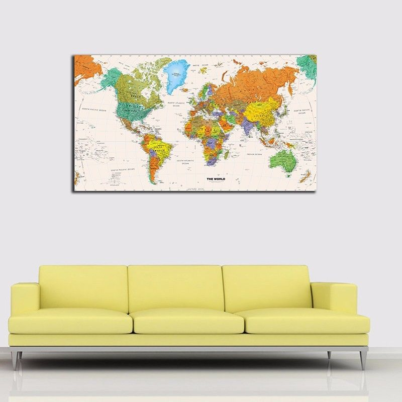 Wall Art Pictures Home Decor World Map Stretched Canvas Prints ...