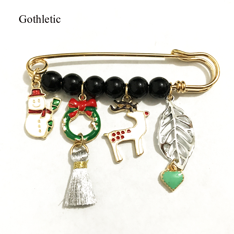 Gothletic Gold-color Enamel Charms Safty Pins and Brooches for Women Fashion Snowman Deer Leaf Tassel Christmas Jewelry Gifts