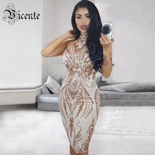 Vicente 2018 New HOT Chic Elegant Shimmer Sequined Embellished Sexy  Sleeveless Midi Celebrity Women Wholesale Mesh Dress 4c2a05e42bd6