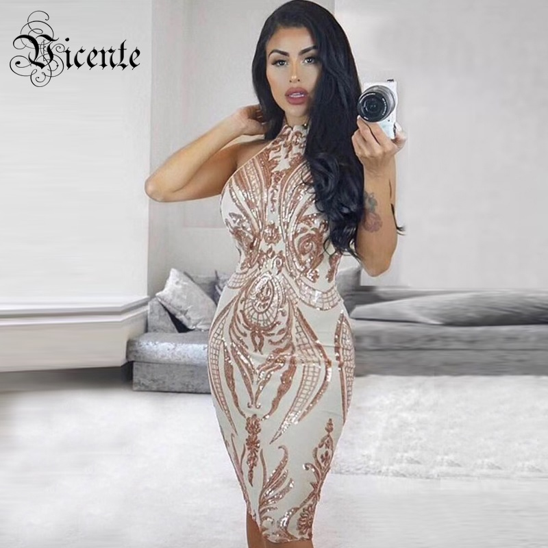 Detail Feedback Questions about Vicente 2019 New HOT Chic Elegant Shimmer  Sequined Embellished Sexy Sleeveless Midi Celebrity Women Wholesale Mesh  Dress on ... 92f8050aa5a5