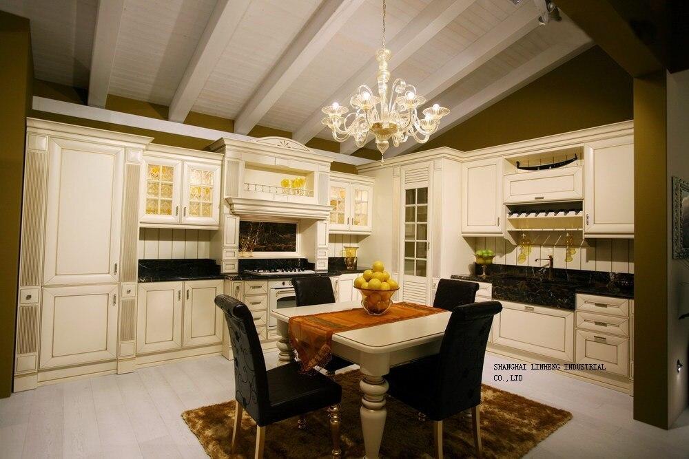 Classique glaçure blanc armoires de cuisine (LH-SW071)