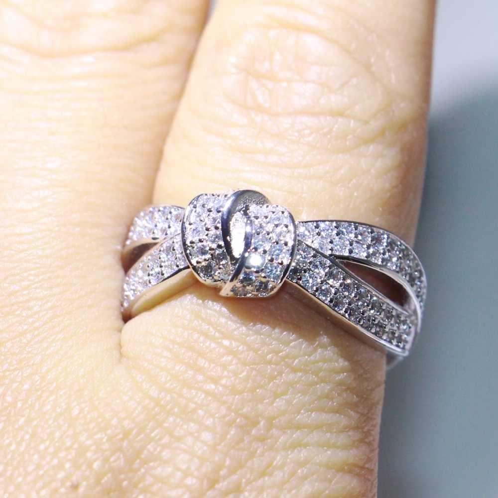 Veclon Infinity ยี่ห้อใหม่เครื่องประดับ 9625 เงินสเตอร์ลิง Pave AAA Cubic Zirconia Bow Party งานแต่งงานใหม่แหวนผู้หญิง