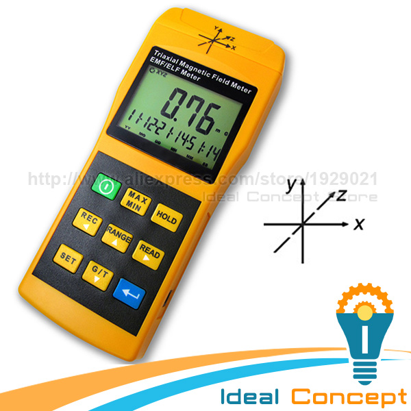 Tri-Axis Sensor EMF ELF Meter Frequency Magnetic Field Gauss 2000mG Taiwan Made Tester Gaussmeter tenmars tm 192d 3 axis emf electromagnetic magnetic field gauss meter emf 30 2000hz with datalogger