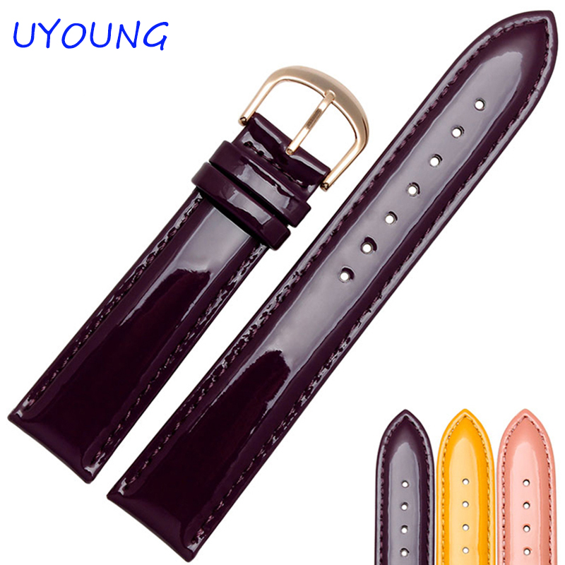 12/14/16/18/20mm High Quality Genuine Leather Watchband Coloured Smooth Women Watch accessories Bracelet