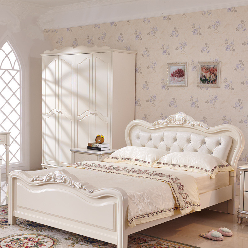 French Luxury Bed Ivory White Flannel Real Wood Bed European Style Solid Wood Bedroom Furniture