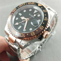 Bliger 40mm Black Dial Rose Gold GMT Sapphire glass Automatic Wrist Watch 2625