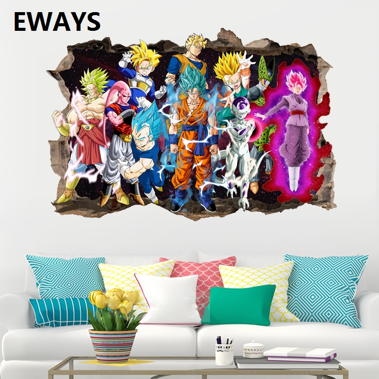EWAYS DIY Dragon Ball Son Goku  Character Wall Stickers Suitable For The Living Room Home Decor Art Posters