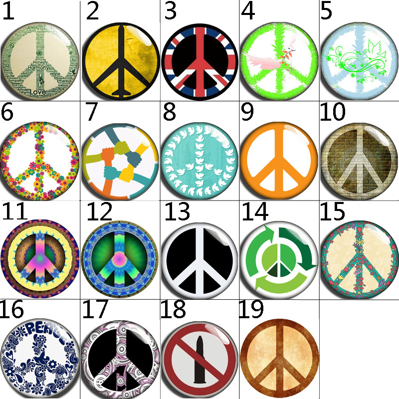 10mm 14mm 16mm 12mm 20mm 25mm 038 12pcs lot Peace Mix Round Glass Cabochons Jewelry Findings 18mm Snap Button Charm Bracelet in Jewelry Findings Components from Jewelry Accessories
