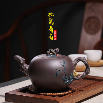 wholesale zhi-gang cao all hand undressed ore purple clay teapot squirrel grapes a drop shipping manufacturers