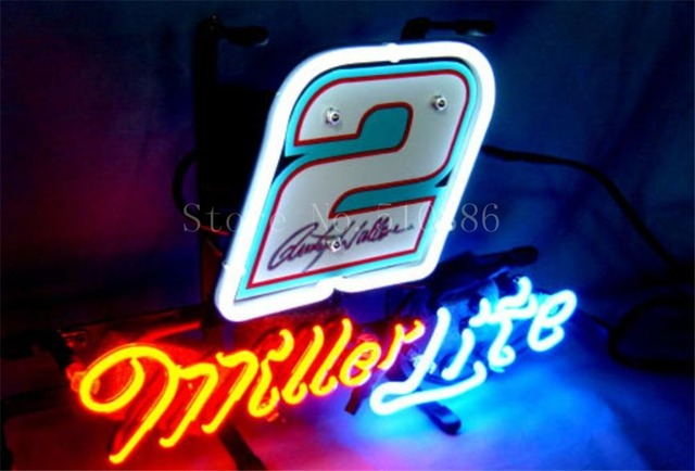 New neon sign for miller lite nascar 2 ford fusion car real glass new neon sign for miller lite nascar 2 ford fusion car real glass tube beer aloadofball Choice Image