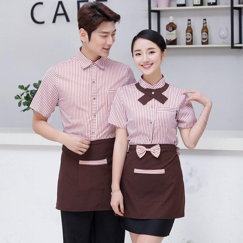 2017 Summer Hotel Short Sleeve Waitress Uniform Catering Restaurant Work Clothing Hotpot Waiter Workwear Cake Shop Uniform Shirt
