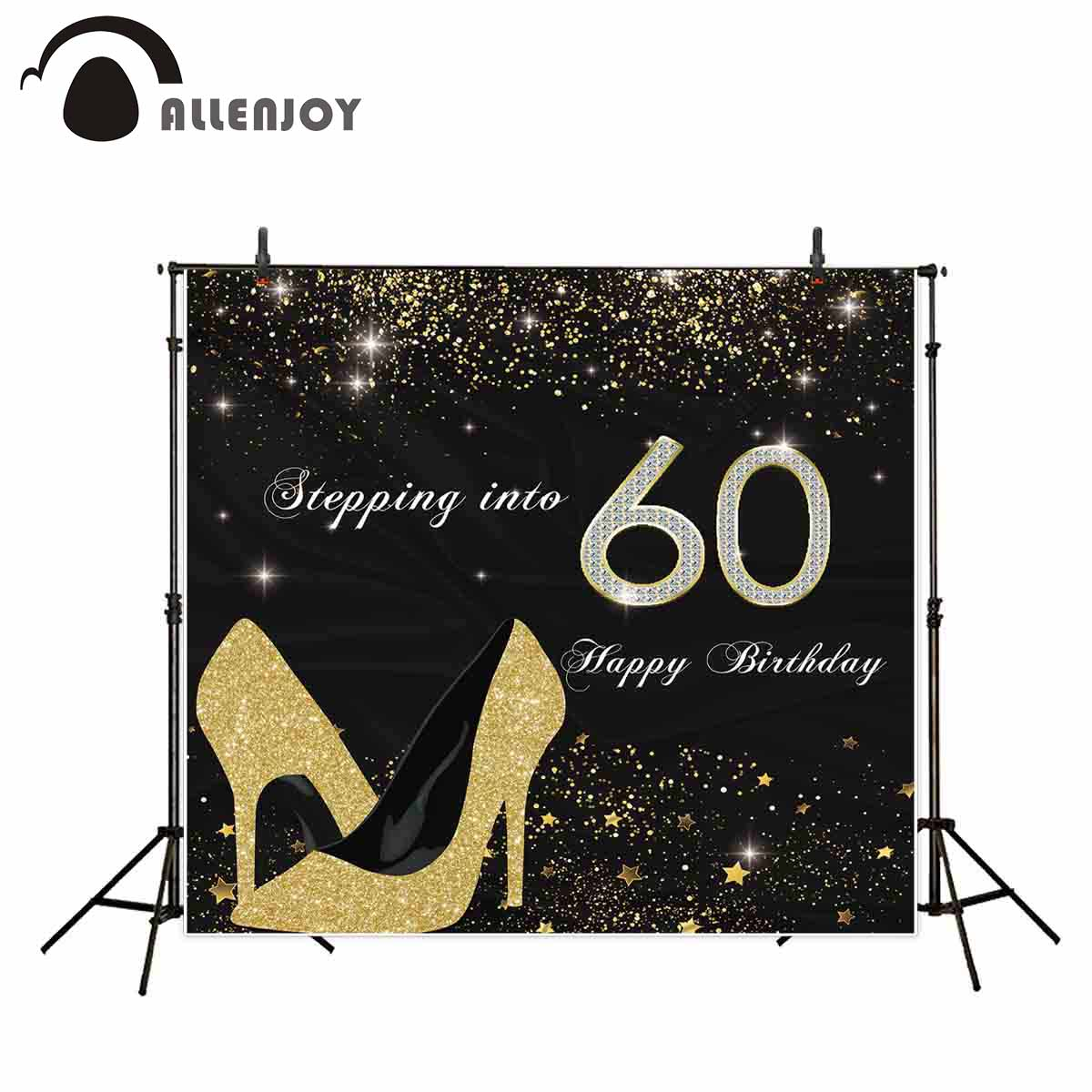 Allenjoy <font><b>birthday</b></font> <font><b>backdrops</b></font> photography black gitter step into <font><b>60th</b></font> High heels party photocall photo background photophone image