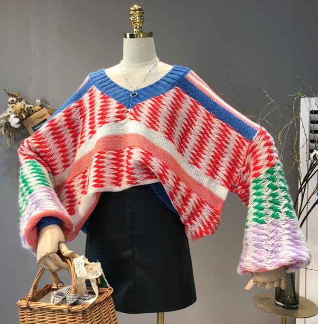 Chandail Chandails Mode Veste De Hiver Tricoté Lâche Outwear face Jacquard Double Occasionnel rouge Femme Tricot Pull Femmes Automne Bleu nZq54IZ