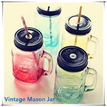 2015 Mi Personalidad Degradado de Color Botella Tarro de Albañil Para helados de Frutas Instalado Infusión Fría Bebida Botellas de Agua De Vidrio Coloreado