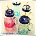 2015 mi personalidad gradiente color Mason Jar botella de helado fruta instalado bebida fría infusión de vidrio Botellas de agua