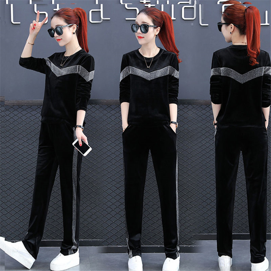 2019 Fashion Sexy Women Sportswear Sport Suit Velvet Tracksuit RCrop Top Pants Running Tracksuit Set Spring Outfit