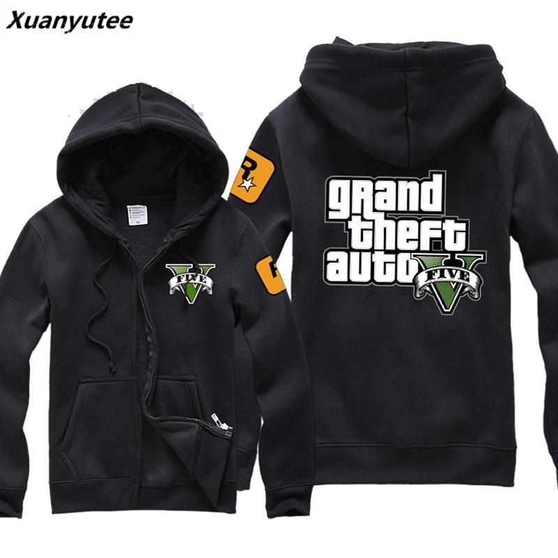 Xuanyutee GTA Game Fans Sweat Homme Printed Grand Theft Auto Fleece Cotton Black Cardigan Zipper Casual Sweatshirt EU Size S 2XL