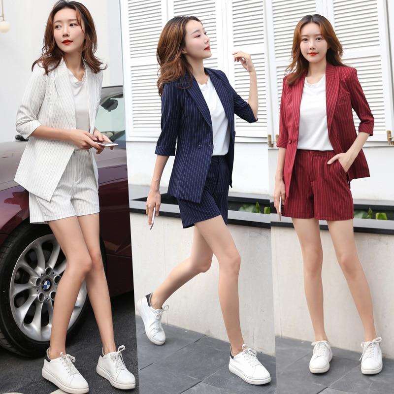 Women's Trouser Suit Female Summer Suit Slim-fit Striped Blazer Fashion Elegant Shorts Suit 2019 New Women's Clothing