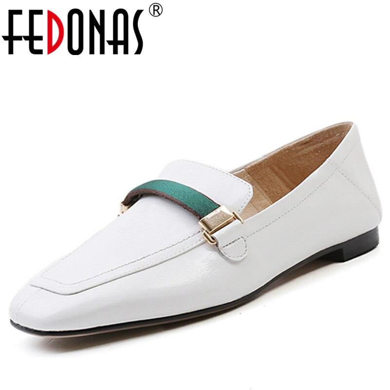 FEDONAS Women Pumps Genuine Leather Shoes Woman Square Toe Mid Heels Fashion Dress Work Pumps Comfortable