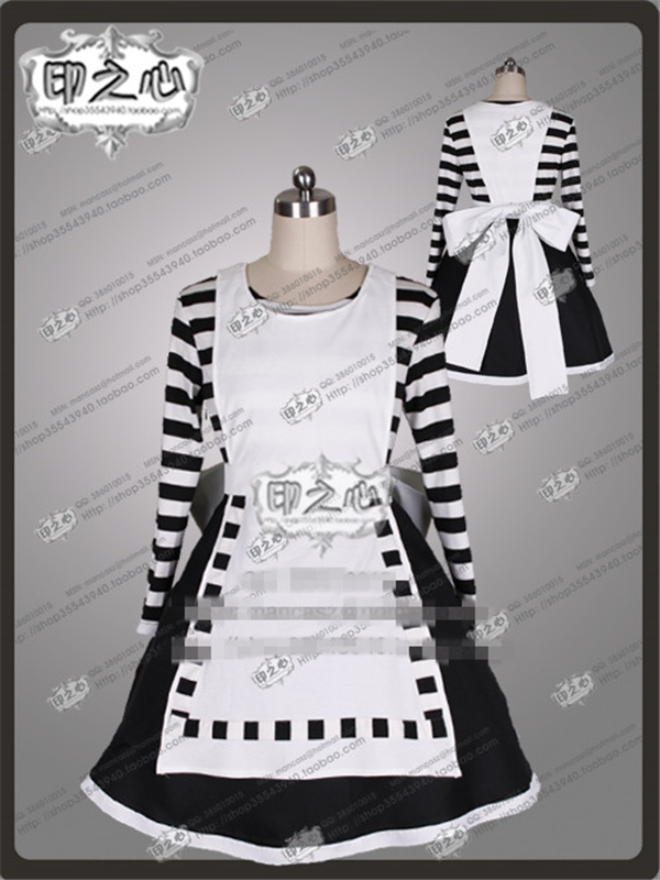 New Anime Madness Returns Alice Black And White Stripes Fashion Uniform Party Cosplay Costume Skirts+Socks alice madness returns heroine alice cosplay costume black white striped customized anime uniform