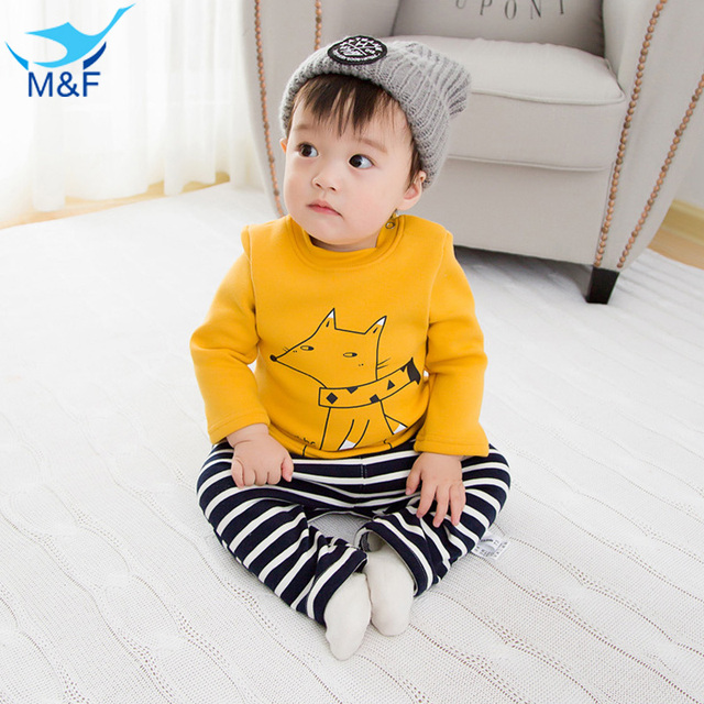 M&F T-shirt Long Sleeve Kids Tops Cartoon Winter Baby Boys T-Shirt 0-Neck Warm Thick Cute Baby Tees For 4-24 Months