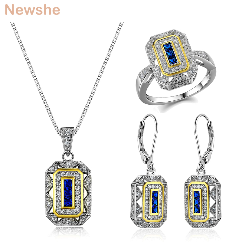 Newshe Rings Earrings Pendant Necklace Trendy Engagement Jewelry Sets For Women 925 Sterling Silver Wedding Accessories