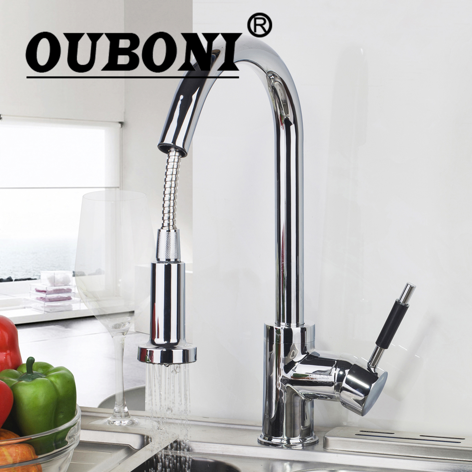 OUBONI 360 Swivel Polish Chrome Brass Countertop Tap Stream Pull Out Spout Kitchen Sink Faucet Hot & Cold Mixer Taps antique brass swivel spout dual cross handles kitchen