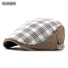 SILOQIN Adjustable Head Size Washable Cotton Berets For Men And Women Casual Large Thin British Plaid Forward Caps Unisex