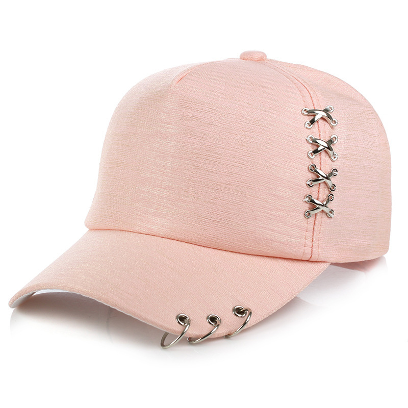 2018 marque De Mode Unisexe hip hop cap Snapback Chapeaux Solide couleur Anneau De Fer Décor Coton Chapeaux Femmes Kpop Simple Baseball Caps