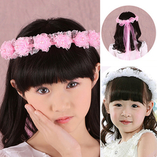Hot Pink/White Girl Children Faux Pearls Lace Ribbon Floral Flower Wedding Hairband Headband  Hairwear 5BQO 7GGT