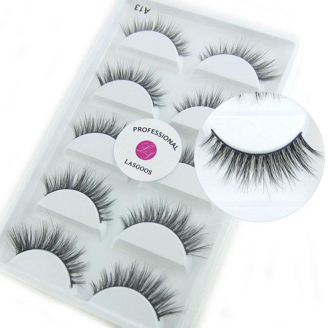 fc47c2dab53 LASGOOS 5 Pairs 100% Real Mink Siberian Messy Natural 3D Daily False  Eyelashes Fake Stripe