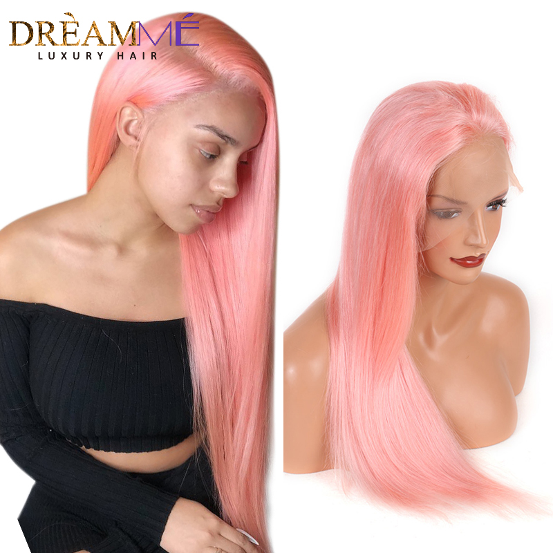 Full Pink Lace Front Human Hair Wig Brazilian Straight Wig Pre Plucked Glueless Ombre Human Hair