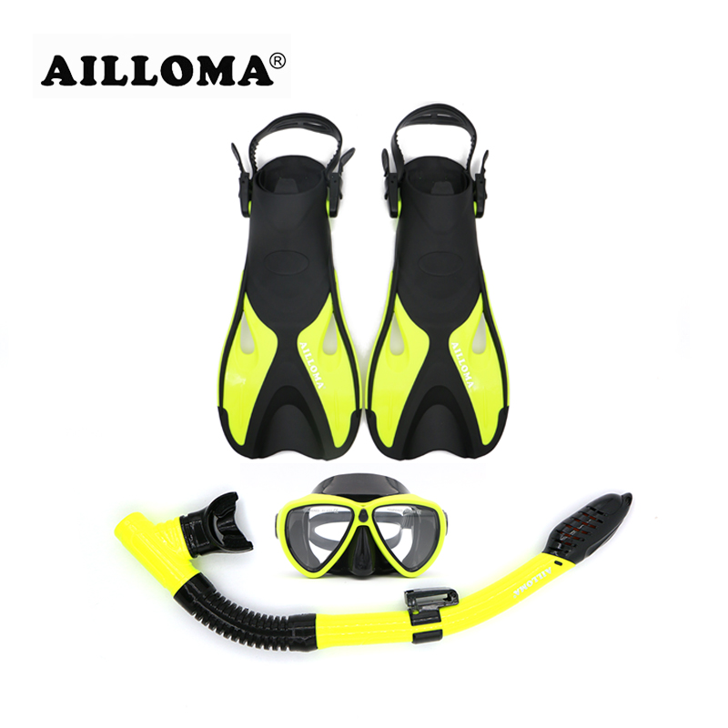 AILLOMA Adjustable Buckle Diving Mask Snorkel Set Adult Full Dry Breathing Tube Scuba Anti-Fog Swimming Goggles Flipper Fins anti fog full face snorkeling mask diving snorkel 180 degree vision for gopro free breathing dive gear tube swimming diving mask