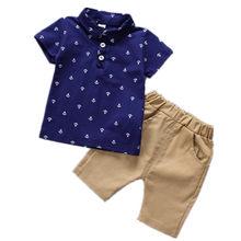 Conjunto infantil camiseta e calça lapela, verão 2019 conjunto de bebê peça
