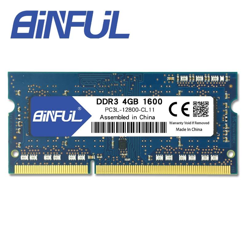 Binful Original Nueva Marca DDR3L 4 GB 1600 MHz PC3-12800s 1.35 V baja tensión CL11 204pin SODIMM Memoria Ram Para Laptop Notebook